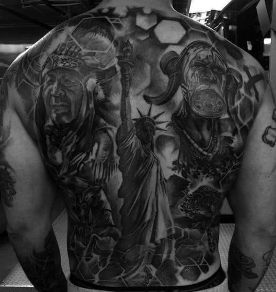 Greyish Mens Full Back Statue Of Liberty And Warrior Tattoo