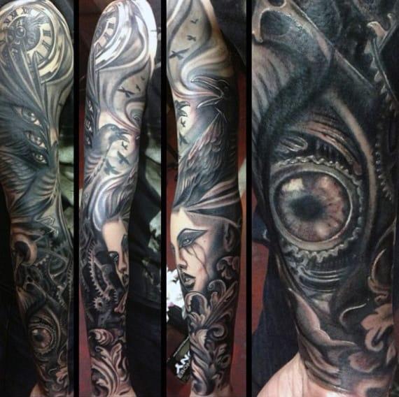 Greyish Steampunk Eye Tattoo Guys Full Sleeve