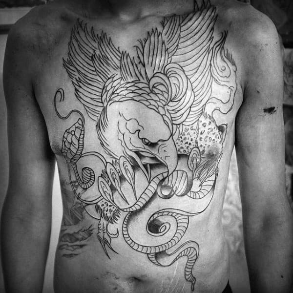 Griffin With Snake Chest Tattoo For Males