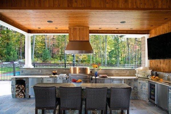 Grill Outdoor Kitchen Ideas With Dining Room Table