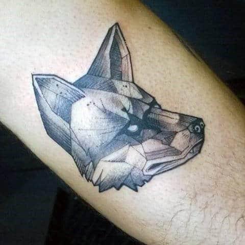 Grim Faced Geometric Fox Tattoo Guys Forearm