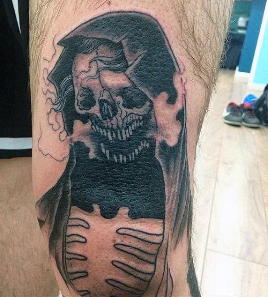 Grim Reaper Back Of Leg Tattoos Men