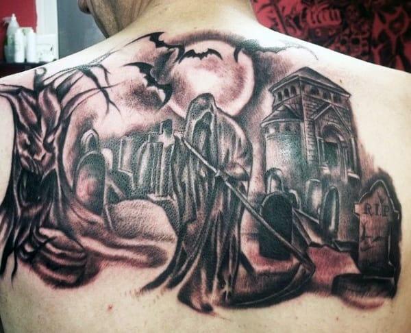Grim Reaper Back Tattoo For Men