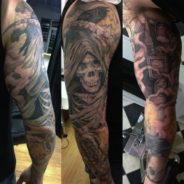 Grim Reaper Graveyard Men's Tattoos