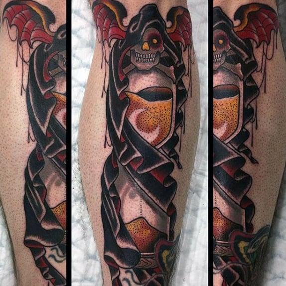 Grim Reaper Hourglass Mens Shin Tattoos