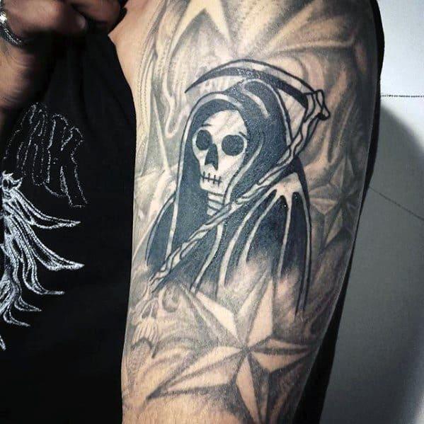 Grim Reaper Mens Tattoo Ideas With Blast Over Design On Upper Arm