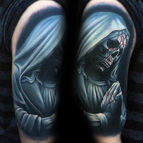 Grim Reaper Praying Crazy Mens Half Sleeve Tattoos