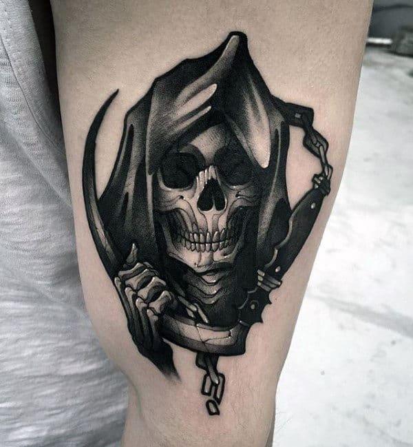 Grim Reaper Skeleton Hand Mens Arm Tattoos