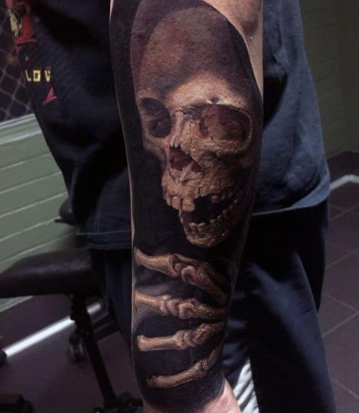 Grim Reaper Skeleton Tattoo For Males