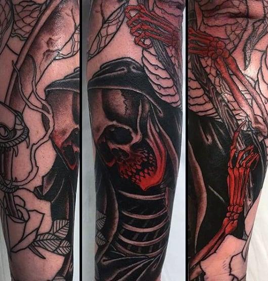 Grim Reaper Skull Arm Tattoos For Men
