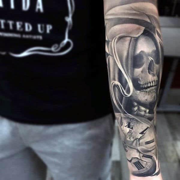Grim Reaper Skull Clock Forearm Sleeve Tattoo On Guy