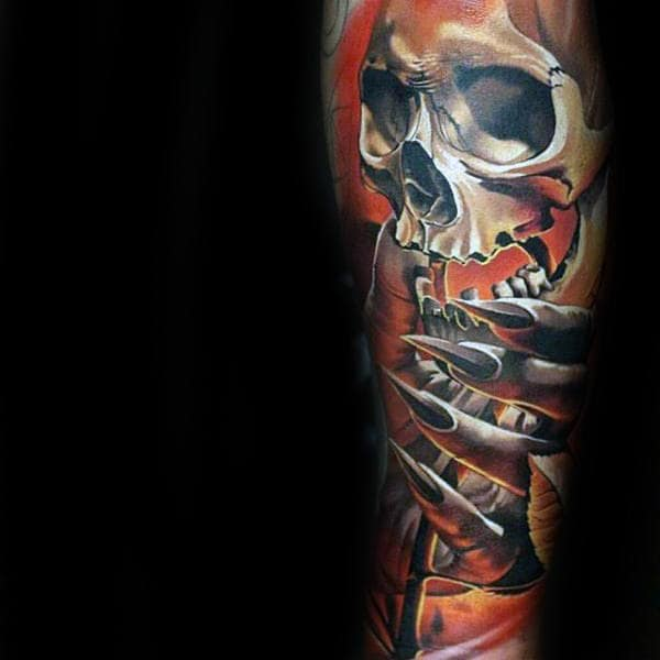 Grim Reaper Skull Crazy Guys 3d Tattoo Forearm Sleeve Tattoos