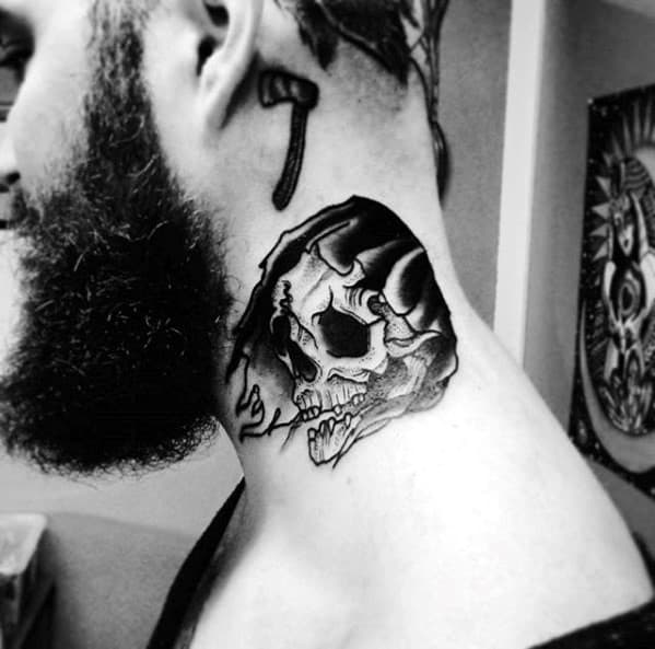 Grim Reaper Skull With Black Hood Mens Traditional Neck Tattoo