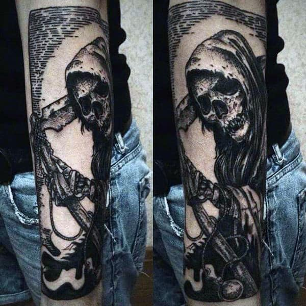 Grim Reaper Tattoo Designs For Men In Black Ink