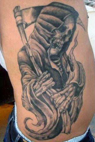 Grim Reaper Tattoos Rib Cage On Male
