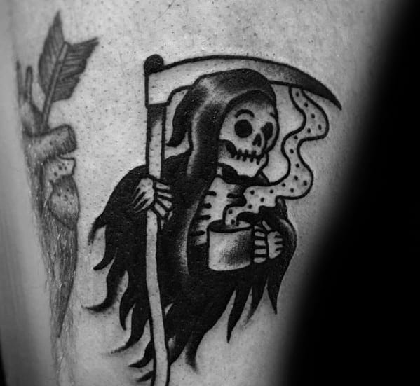 Grim Reaper Thigh Guys Coffee Tattoo