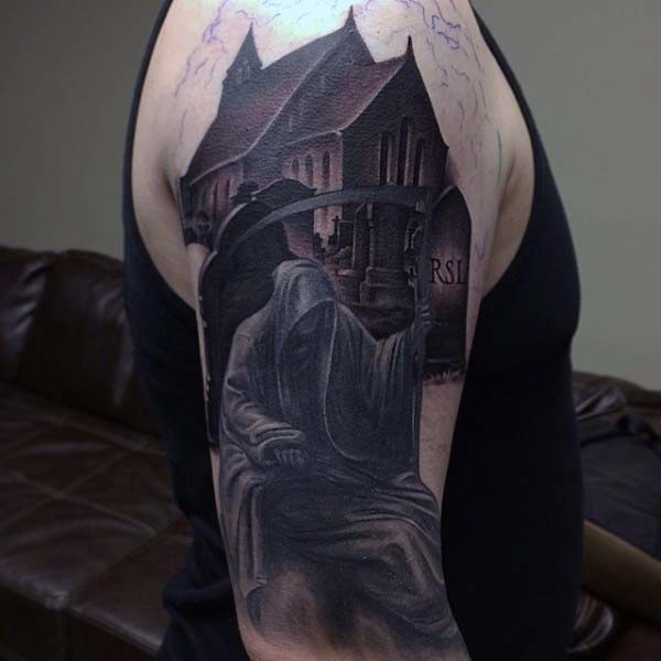 Grim Reaper Tombstone Mens Tattoo Half Sleeve Design