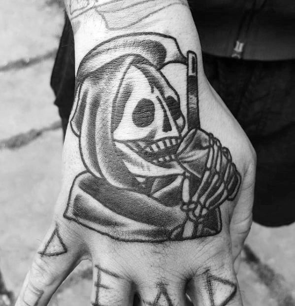 Grim Reaper Traditional Hand Tattoos For Guys