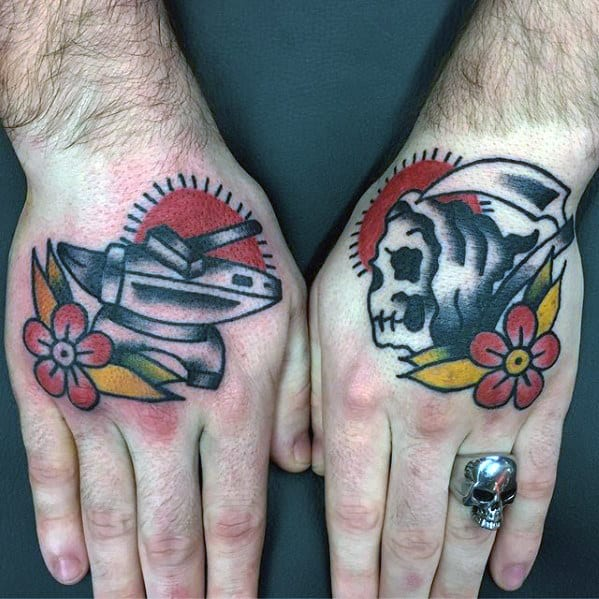 Grim Reaper With Flower Mens Old School Traditional Hand Tattoo