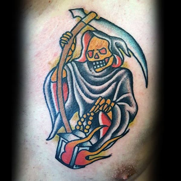 Grim Reaper With Lantern Mens Traditional Upper Chest Tattoo Designs
