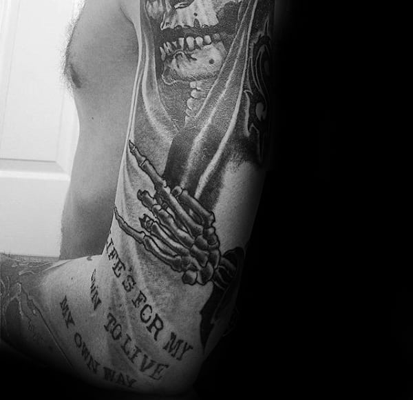 Grim Reaper With Typewriter Font Quote Mens Arm Sleeve Tattoo