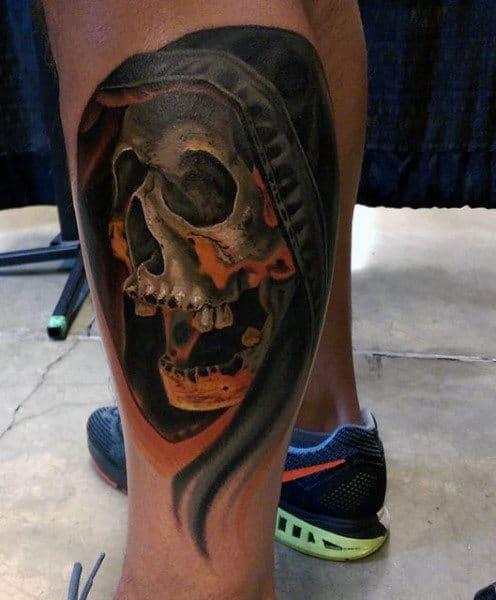 Grim Reapers Tattoos Men On Leg Calf