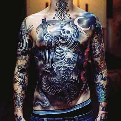 Grim Repear Extreme Chest Tattoos For Men