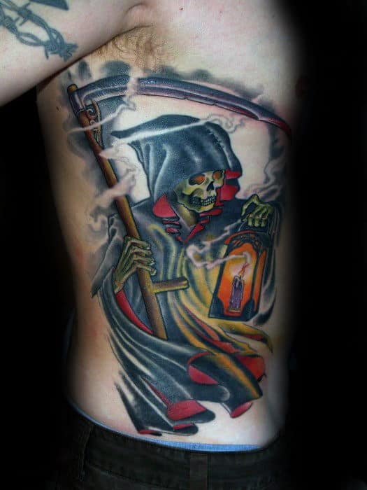 Grim Repear With Candle Lantern Traditional Mens Rib Cage Side Tattoos