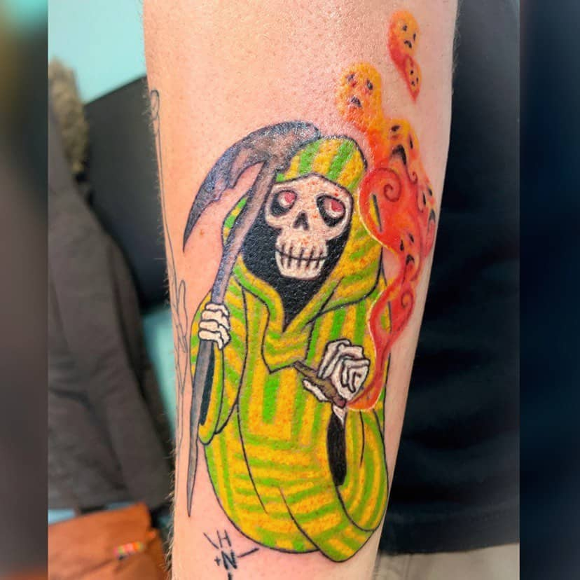 Grimreaper Smoking Weed Recovery Tattoo