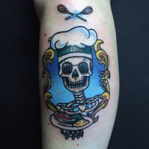 Grinning Chek Skull Culinary Tattoo Guys Forearms