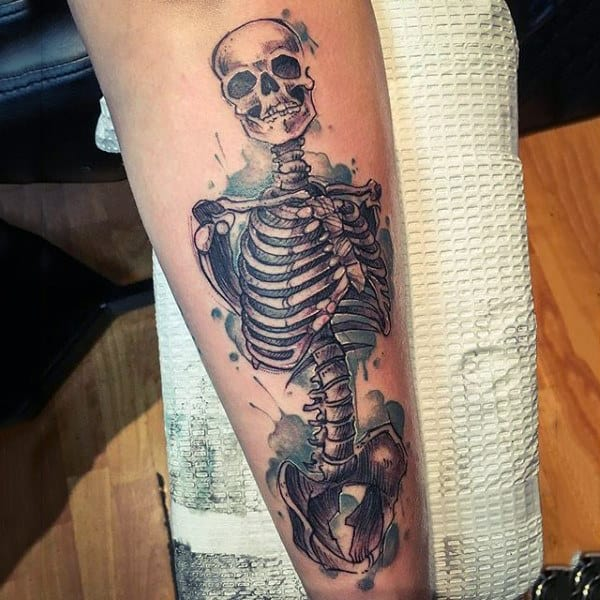 Grinning Skeleton Watercolor Tattoo On Calves For Guys