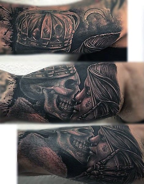 Grinning Skull With Crown Kissing Lady Tattoo Forearms Guys