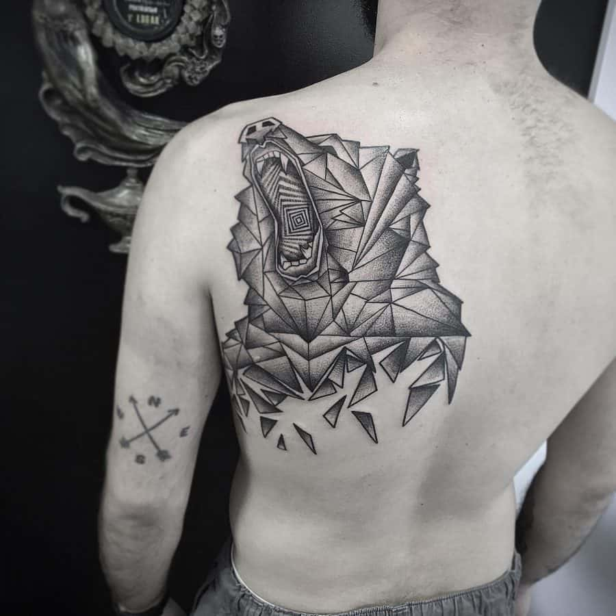 Grizzly Bear Many Traingles Shattering Abstract Geometric Tattoo