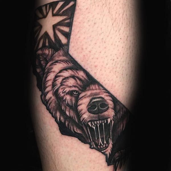 Grizzly Bear Mens California Leg Calf Tattoos