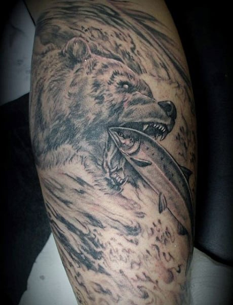 Fishing Grizzly Bear Tattoo Designs For Guys