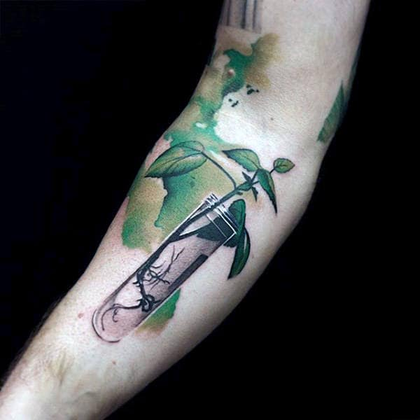 Growing Plant Watercolor Tattoo Men Forearm