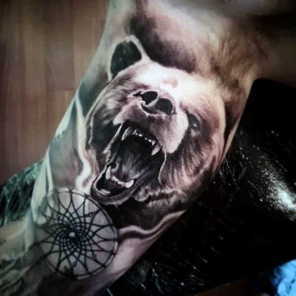 Growling Bear Dreamcatcher Shaded Ink Mens Tattoos