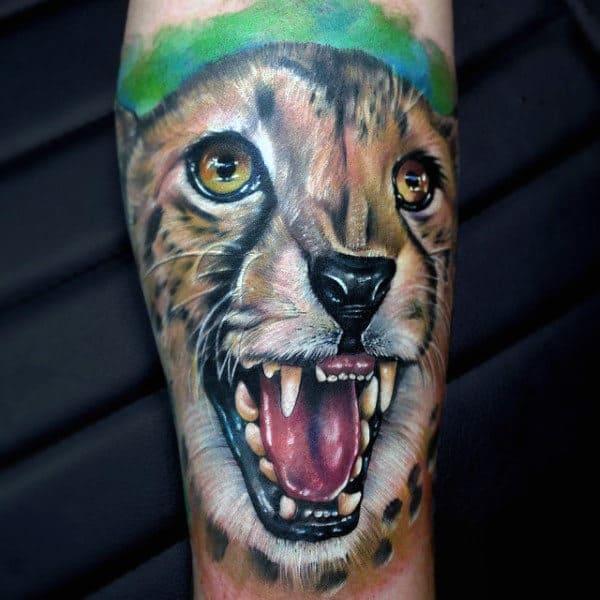 Growling Leopard Mens Forearm Sleeve Tattoo Design Ideas