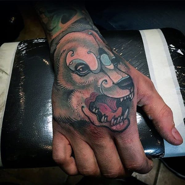 Growling Polar Bear Mens Hadn Tattoos