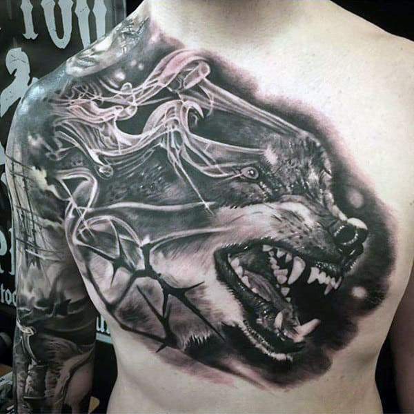 Growling Wolf Incredible Black Ink Guys Chest Tattoo