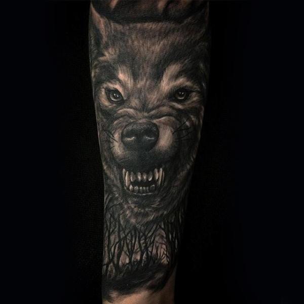 Growling Wolf Tree Sleeve Male Tattoo Ideas