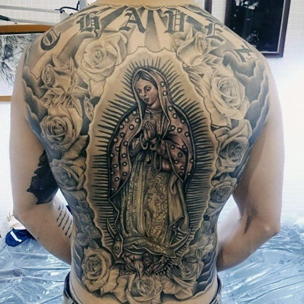 Guadalupe Rose Flower Guys Tattoo Designs Full Back