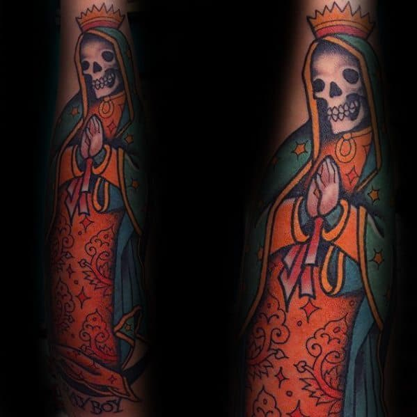 Guadalupe Skull Forearm Guys Tattoos