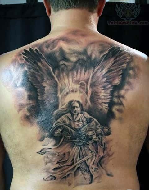 75 remarkable angel tattoos for men ink ideas with wings. Black Bedroom Furniture Sets. Home Design Ideas