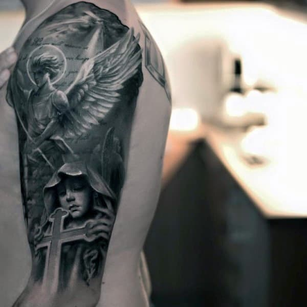 Guardian Angel With Halo And Cross Tattoo Males Arms