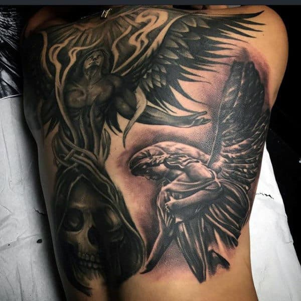 Guardian Angels And Hooded Skull Tattoo Male Back
