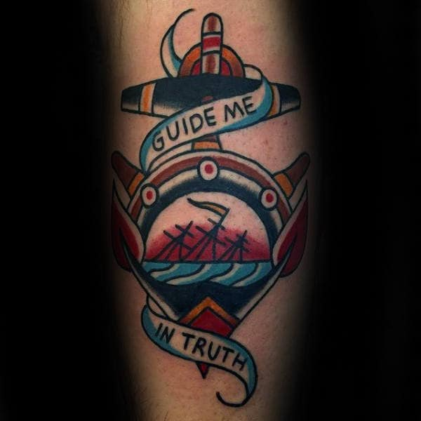Guide Me In Truth Male Traditional Anchor Ship Wheel Tattoos