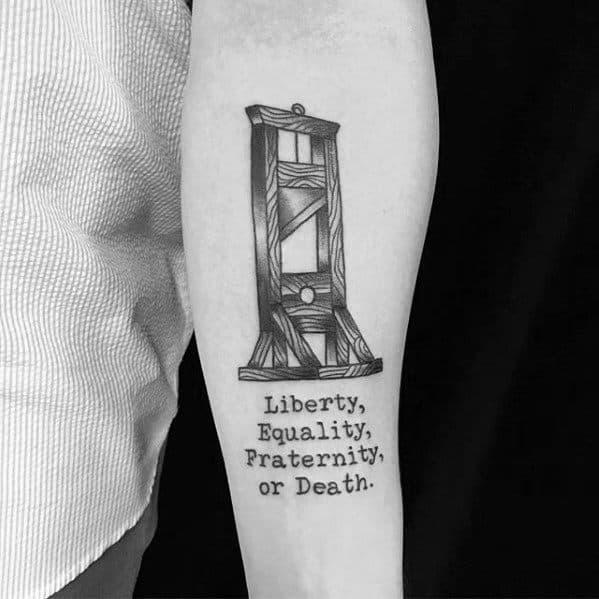 Guillotine Tattoo Design On Man