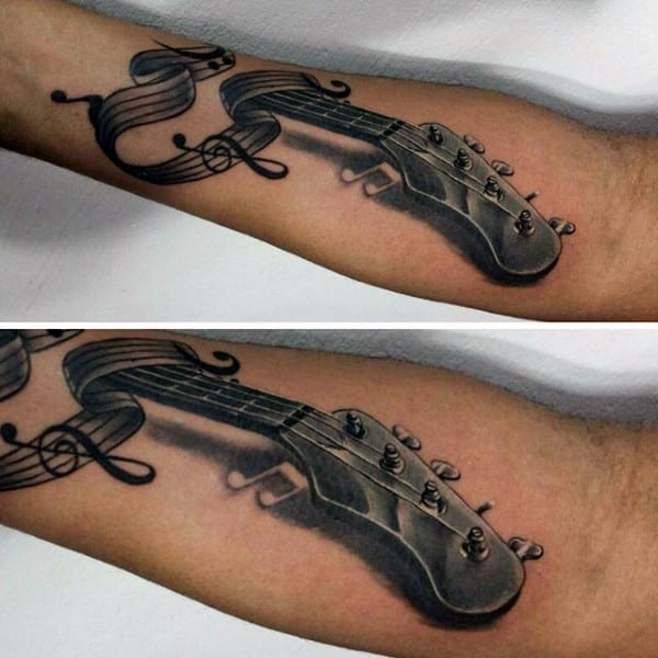 Guitar Male Music Note Shaded Tattoo Design