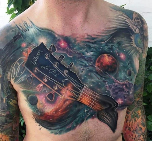 Guitar Outerspace Themed Artistic Mens Chest Tattoos